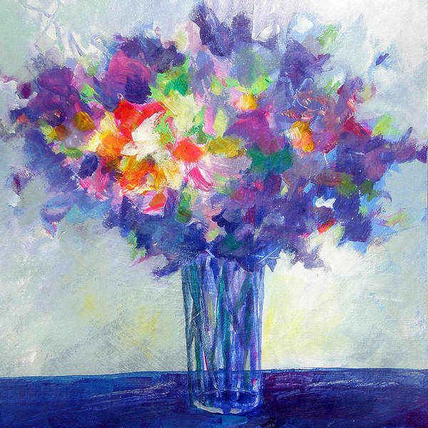 Susanne Clark Print featuring the painting Posy In Lavender And Blue - Painting Of Flowers by Susanne Clark