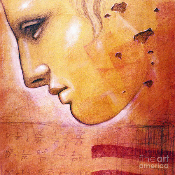 Statue Art Print featuring the painting Profile With Einstein Equation by Chris Bradley