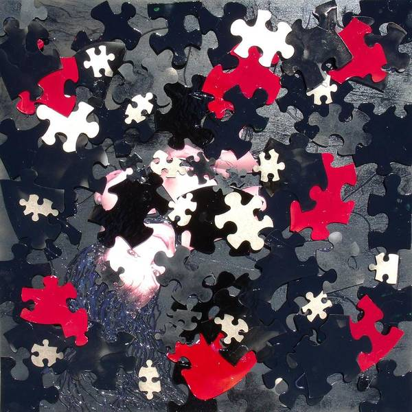 Puzzle Art Print featuring the mixed media Puzzled by Angela Stout