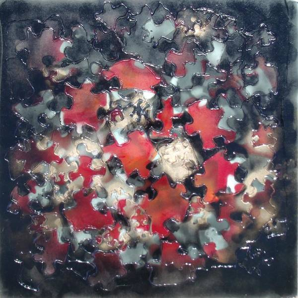 Puzzled Art Print featuring the mixed media Puzzling by Angela Stout