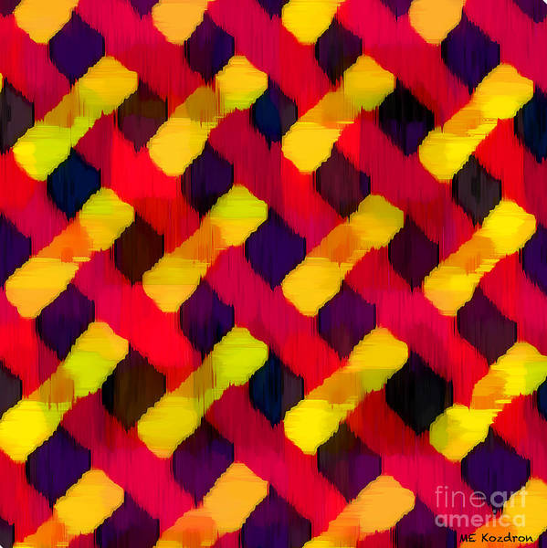 Abstract Art Print featuring the digital art Red And Yellow Basketweave Bias by ME Kozdron