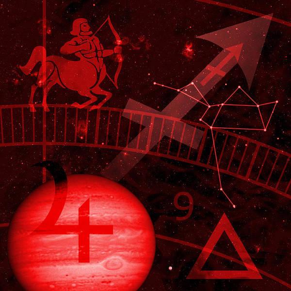 Horoscope Art Print featuring the digital art Sagittarius by JP Rhea