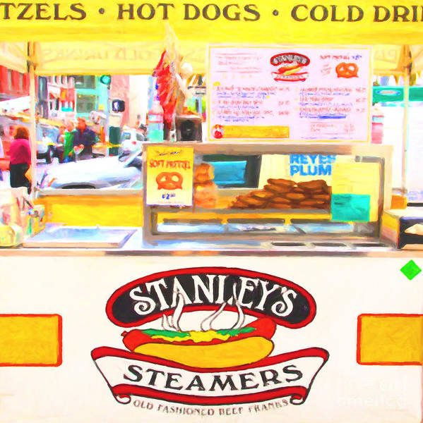 San Francisco Art Print featuring the photograph San Francisco - Stanley's Steamers Hot Dog Stand - 5d17929 - Square - Painterly by Wingsdomain Art and Photography