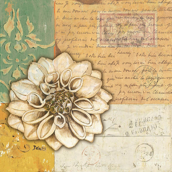 Flower Print featuring the painting Shabby Chic Floral 1 by Debbie DeWitt