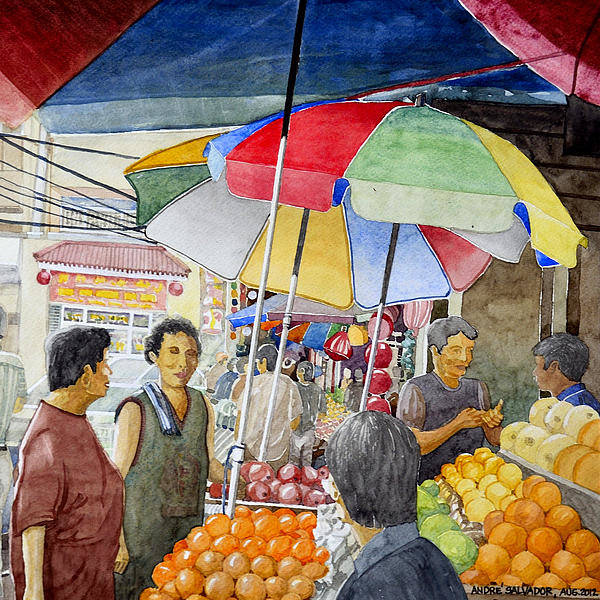 Sidewalk Art Print featuring the painting Sidewalk Vendors by Andre Salvador