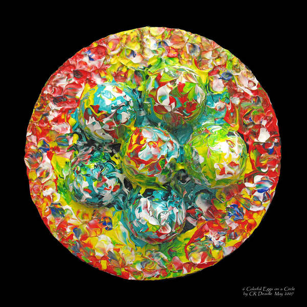 Original Print featuring the painting Six Colorful Eggs On A Circle by Carl Deaville