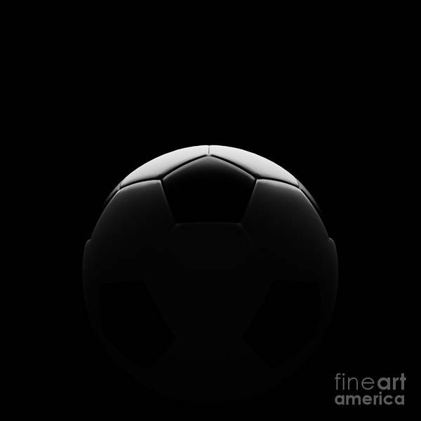Activity Art Print featuring the digital art Soccer Ball On Black With Beautiful Back Lighting by Chatuporn Sornlampoo