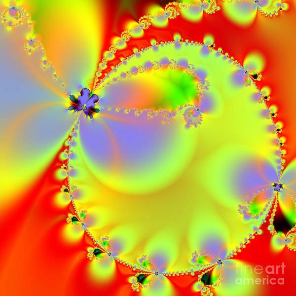 Fractal Art Print featuring the digital art The Butterfly Effect . Summer . Square by Wingsdomain Art and Photography