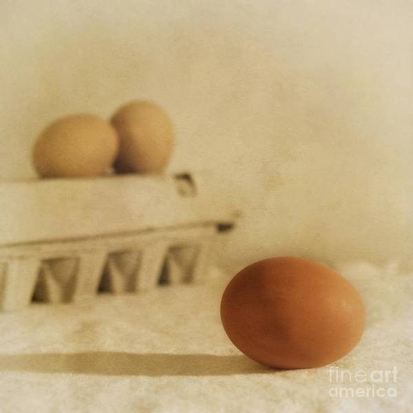 Egg Art Print featuring the photograph Three Eggs And A Egg Box by Priska Wettstein