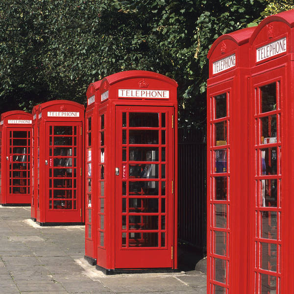 Square Art Print featuring the photograph Traditional Red Telephone Boxes In London, England by Hisham Ibrahim