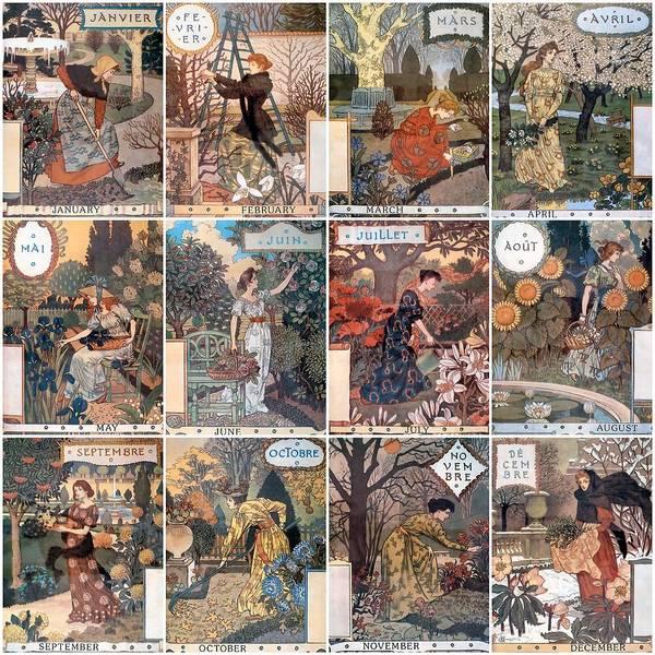 French Art Art Print featuring the photograph Vintage Art Nouveau French Calendar Art by Don Struke