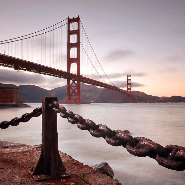 Square Art Print featuring the photograph Vintage Golden Gate by Philippe Sainte-Laudy Photography