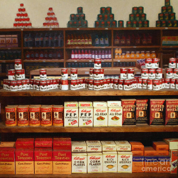 Grocery Store Art Print featuring the photograph Vintage Mom And Pop Grocery Store - 7d17402 by Wingsdomain Art and Photography