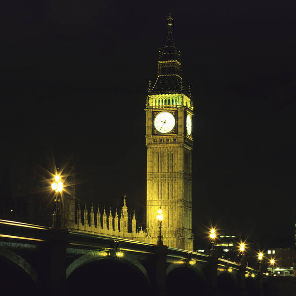 Square Art Print featuring the photograph Westminster Bridge And Big Ben At Night, London by Hisham Ibrahim