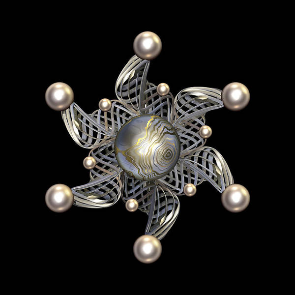 Color Art Print featuring the digital art White Gold And Pearls by Hakon Soreide