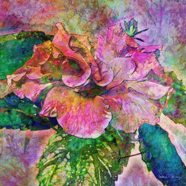Hibiscus Art Print featuring the digital art Winter Bloom by Barbara Berney