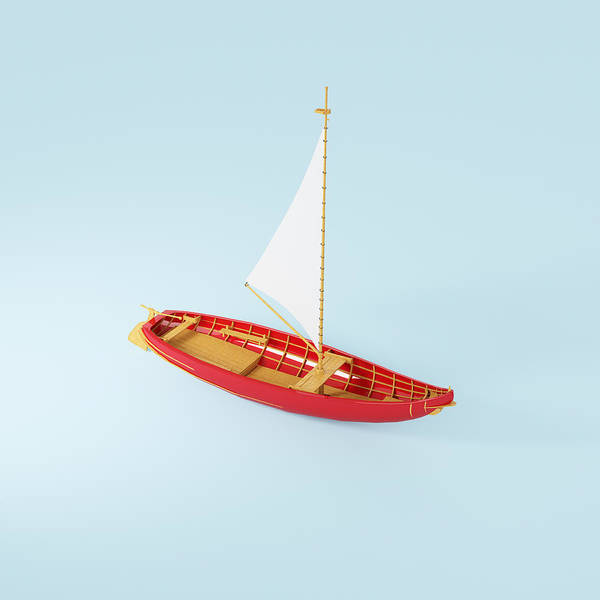 Square Print featuring the photograph Wooden Toy Sailing Boat by Jon Boyes
