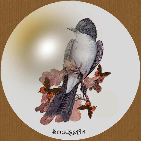 #0397 Eastern Kingbird Art Print featuring the digital art Eastern Kingbird by Madeline Allen - SmudgeArt