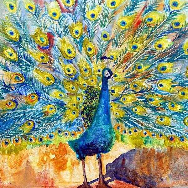 Art Art Print featuring the painting Peacock Pootinella - Modern Art by Miriam Schulman