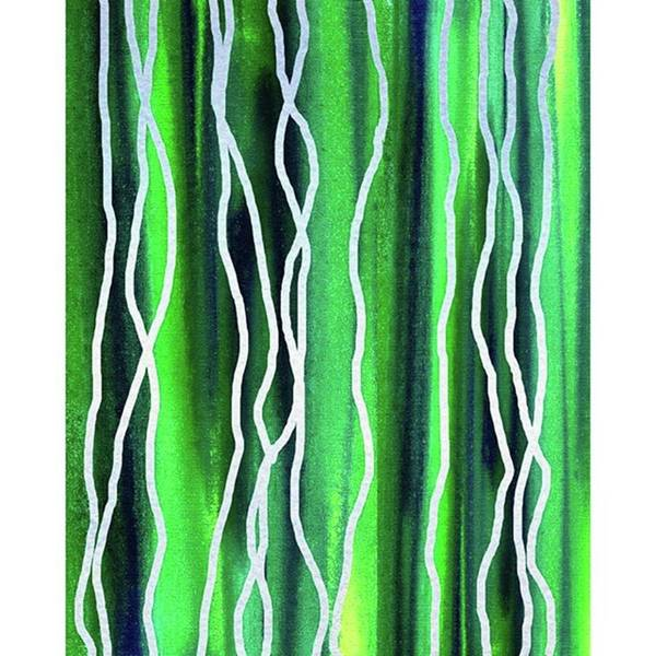 Abstract Line Art Print featuring the painting Abstract Lines On Green 2 by Irina Sztukowski