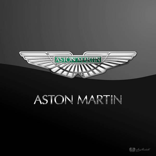'wheels Of Fortune� Collection By Serge Averbukh Art Print featuring the photograph Aston Martin 3 D Badge On Black by Serge Averbukh