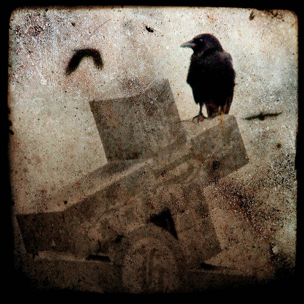 Crow Art Print featuring the photograph Cross With Crow by Gothicrow Images