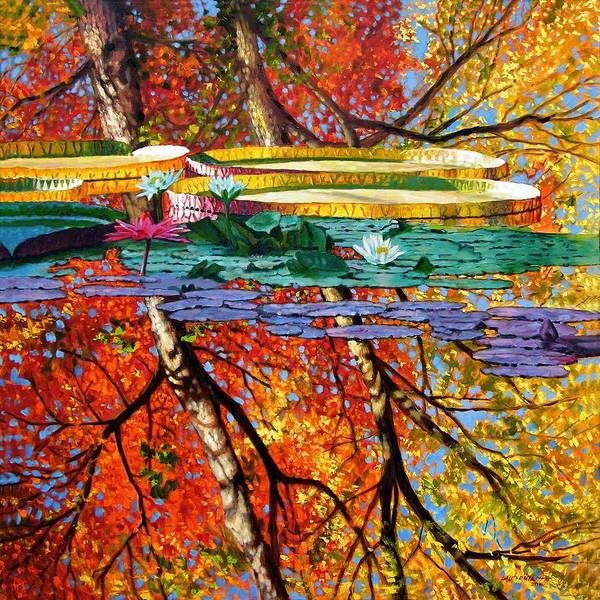 Water Lilies Art Print featuring the painting Fall Reflections by John Lautermilch