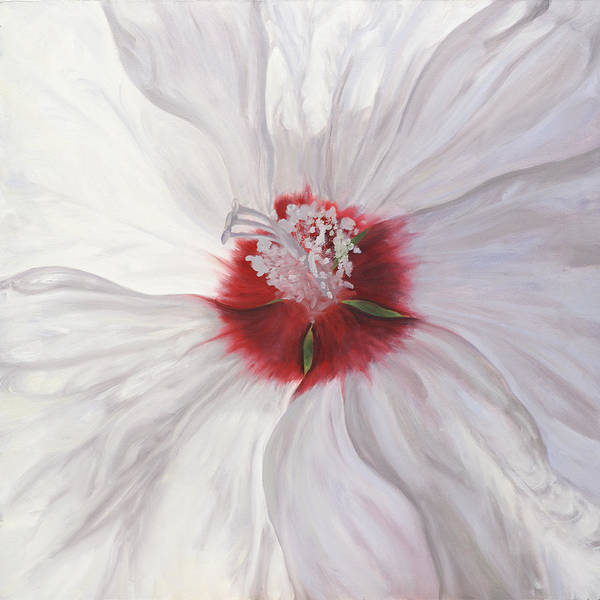 White Art Print featuring the painting Hibiscus by Sherry Burnett