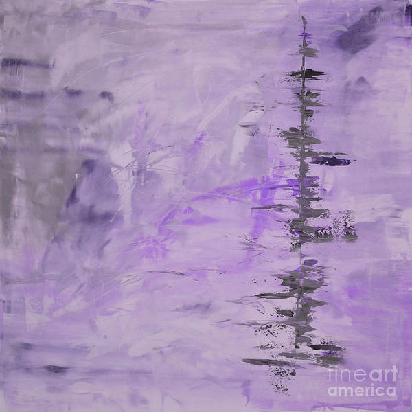 Lavender Art Print featuring the painting Lavender Gray Abstract by Voros Edit