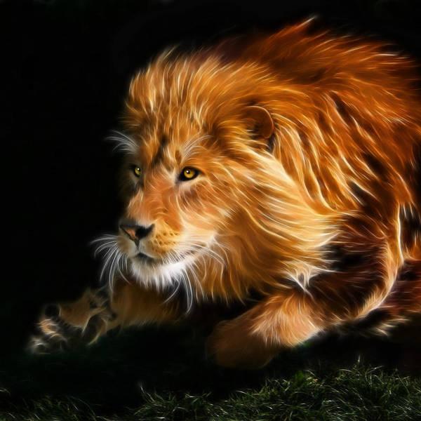 Cats Art Print featuring the digital art Male Lion Fractal by Julie L Hoddinott
