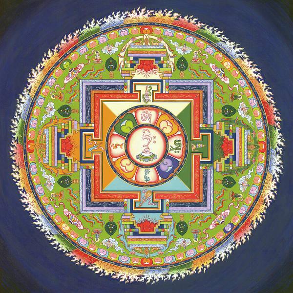 Mandala Art Print featuring the painting Mandala Of Avalokiteshvara      by Carmen Mensink