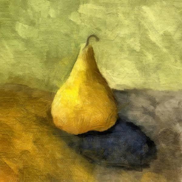 Gold Art Print featuring the painting Pear Still Life by Michelle Calkins