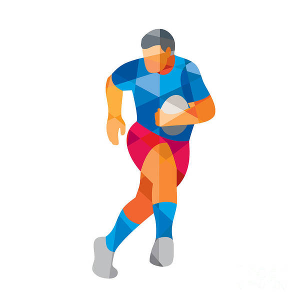 Low Polygon Art Print featuring the digital art Rugby Player Running Low Polygon by Aloysius Patrimonio