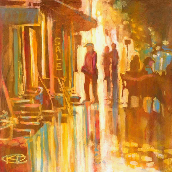 Shopping Art Print featuring the painting Sidewalk Sale by Kip Decker