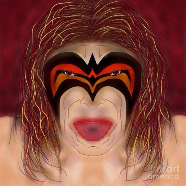 Wwe Art Print featuring the digital art The Ultimate Warrior by Chris Dippel