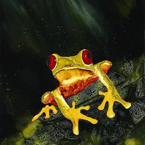Tree Frog Nature Wildlife Whimsical Black Green Yellow Red Orange Gold Abstract Background Art Print featuring the painting Tree Hugger by Lynne Tosby
