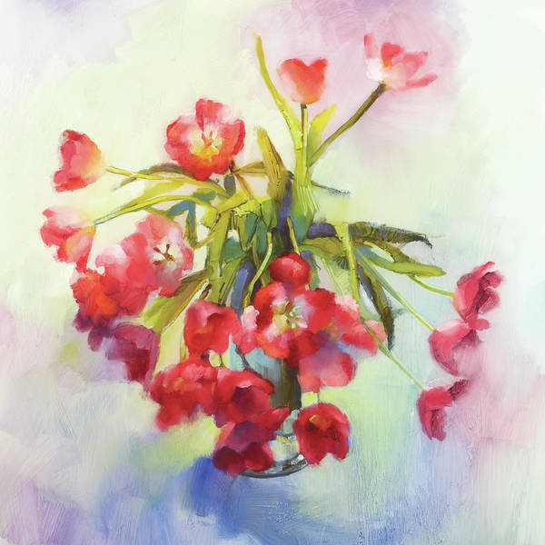 Floral Art Print featuring the painting Tulip Fling by Cathy Locke