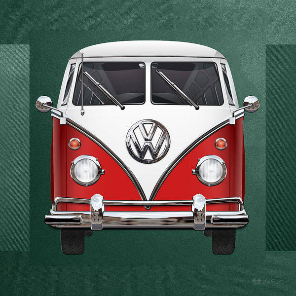 'volkswagen Type 2' Collection By Serge Averbukh Art Print featuring the photograph Volkswagen Type 2 - Red And White Volkswagen T 1 Samba Bus Over Green Canvas by Serge Averbukh
