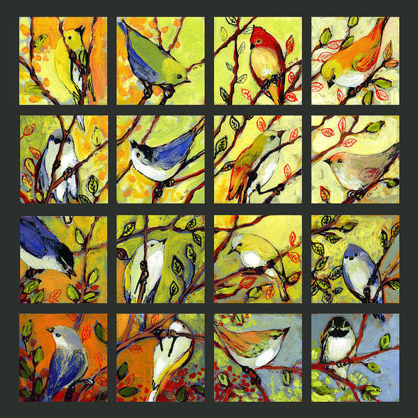 Birds Print featuring the painting 16 Birds by Jennifer Lommers