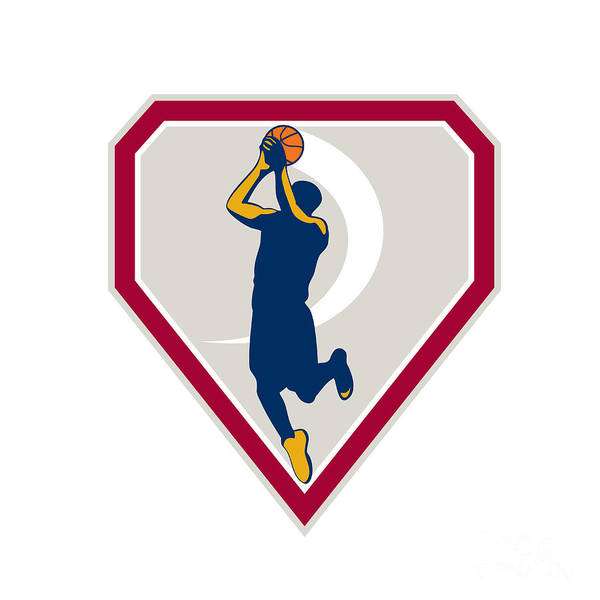 Basketball Art Print featuring the digital art Basketball Player Jump Shot Ball Shield Retro by Aloysius Patrimonio