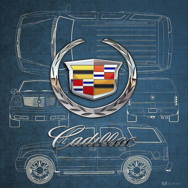 'wheels Of Fortune' By Serge Averbukh Art Print featuring the photograph Cadillac 3 D Badge Over Cadillac Escalade Blueprint by Serge Averbukh