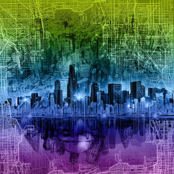 Chicago Skyline Art Print featuring the painting Chicago Skyline Abstract by Bekim M