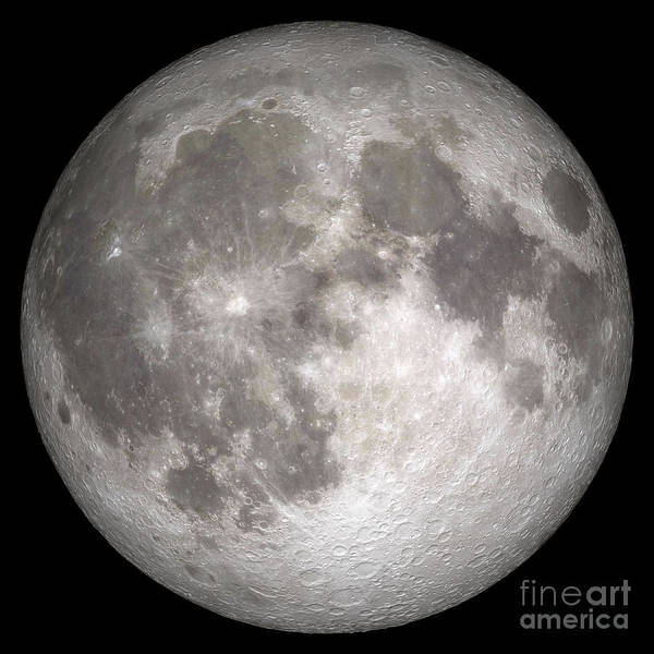 Digital Composite Art Print featuring the photograph Full Moon by Stocktrek Images