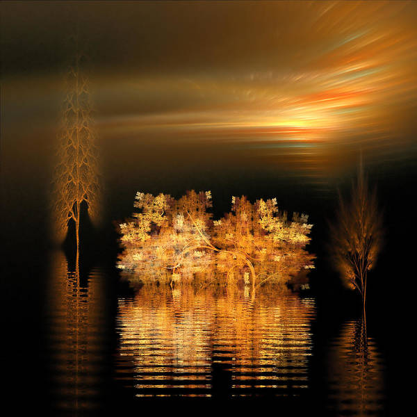 Fractal Art Print featuring the digital art Twilight On The Bayou by Richard Ortolano