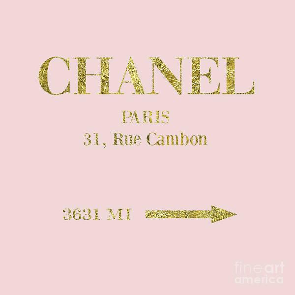 Mileage Art Print featuring the digital art Mileage Distance Chanel Paris by Edit Voros