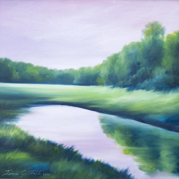 Nature; Lake; Sunset; Sunrise; Serene; Forest; Trees; Water; Ripples; Clearing; Lagoon; James Christopher Hill; Jameshillgallery.com; Foliage; Sky; Realism; Oils; Green; Tree; Blue; Pink; Pond; Lake Art Print featuring the painting A Day In The Life 1 by James Christopher Hill