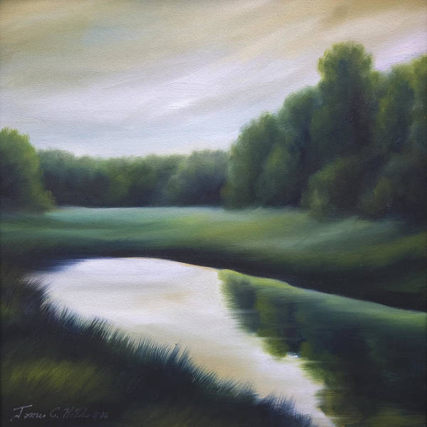 Nature; Lake; Sunset; Sunrise; Serene; Forest; Trees; Water; Ripples; Clearing; Lagoon; James Christopher Hill; Jameshillgallery.com; Foliage; Sky; Realism; Oils; Green; Tree Art Print featuring the painting A Day In The Life 3 by James Christopher Hill