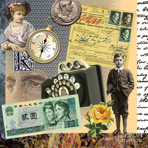 Child Compass Telephone Lady Coin Hitler Yellow Rose Face Banknote Handwriting Writing New World Art Print featuring the digital art A New World To Grow Up In by Steve Wyburn