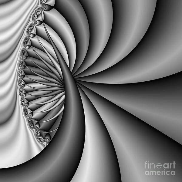 Spiral Abstract Art Print featuring the digital art Abstract 531 Bw by Rolf Bertram