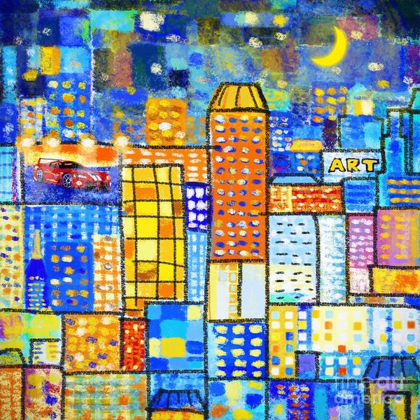 Abstract Art Print featuring the painting Abstract City by Setsiri Silapasuwanchai